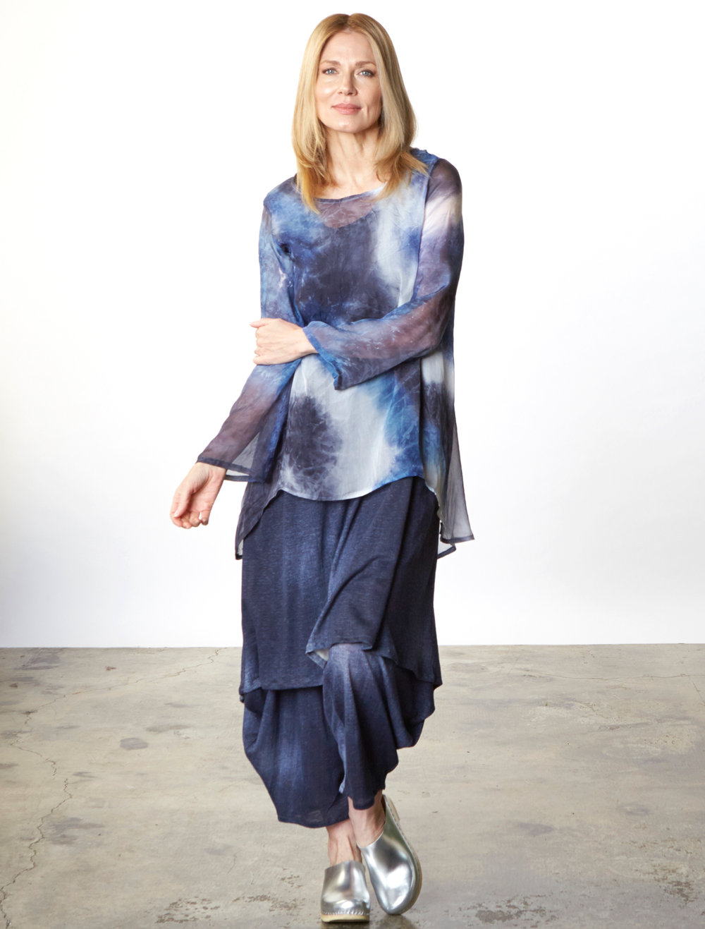 Leo Tunic in Blue Italian Sheer Tie Dye Silk, Louie Dress, Hamish Pant in Blue Italian Stampato Linen