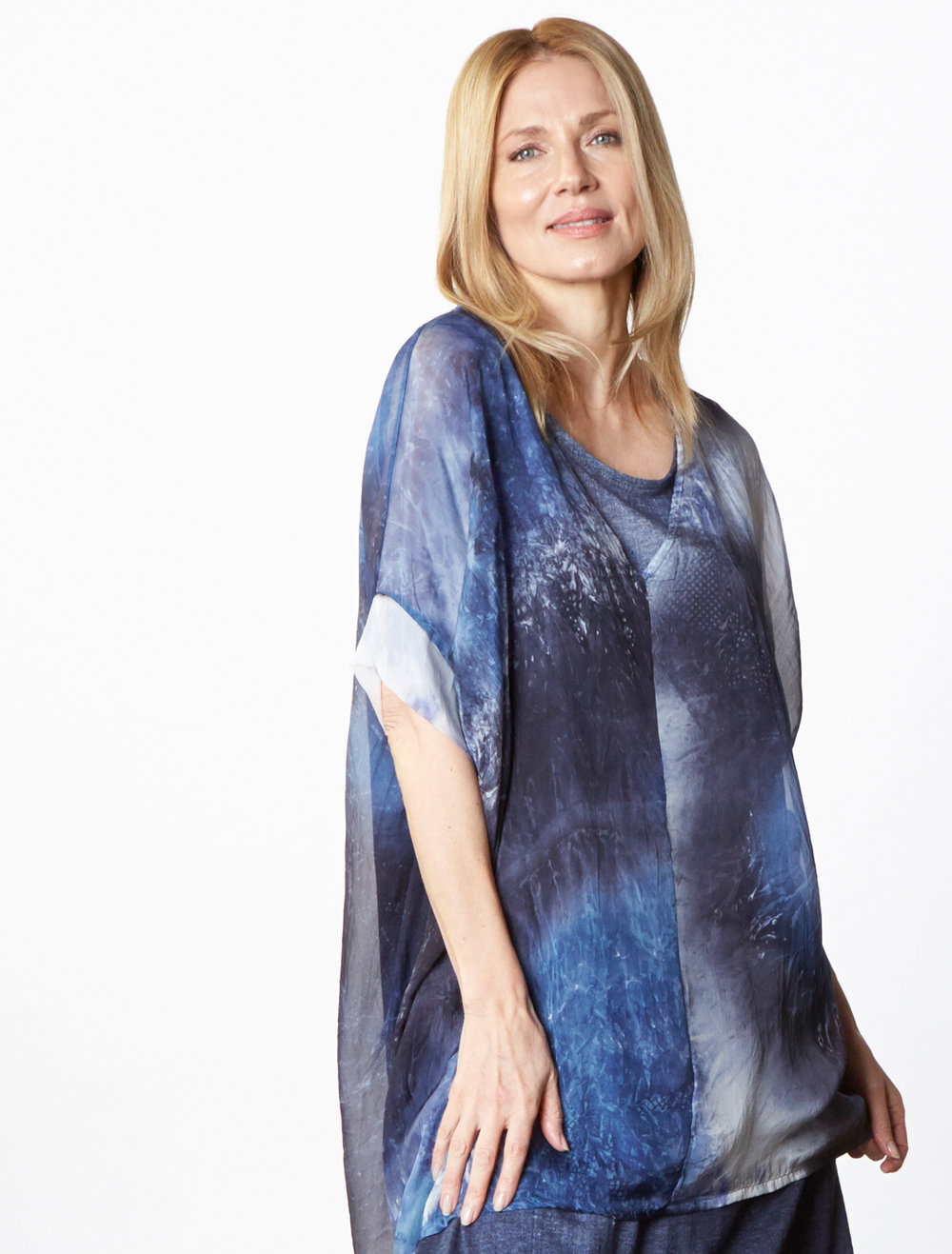 Paola Tunic in Blue Italian Sheer Tie Dye Silk, Louie Dress in Blue Italian Stampato Linen