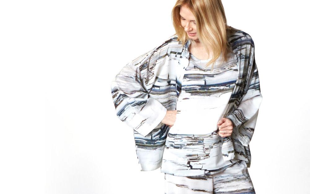 Danuta Jacket, Huxley Tank, Oscar Pantin Silver Matrice Italian Polyester