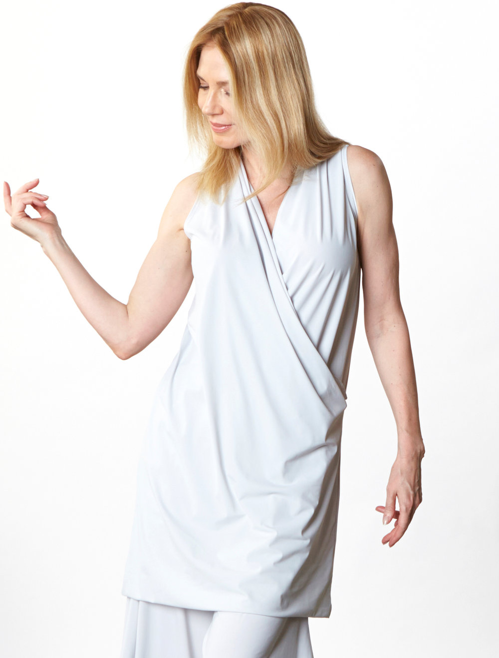 Twist Dress, Hamish Pant in Silver Italian Microfiber Jersey