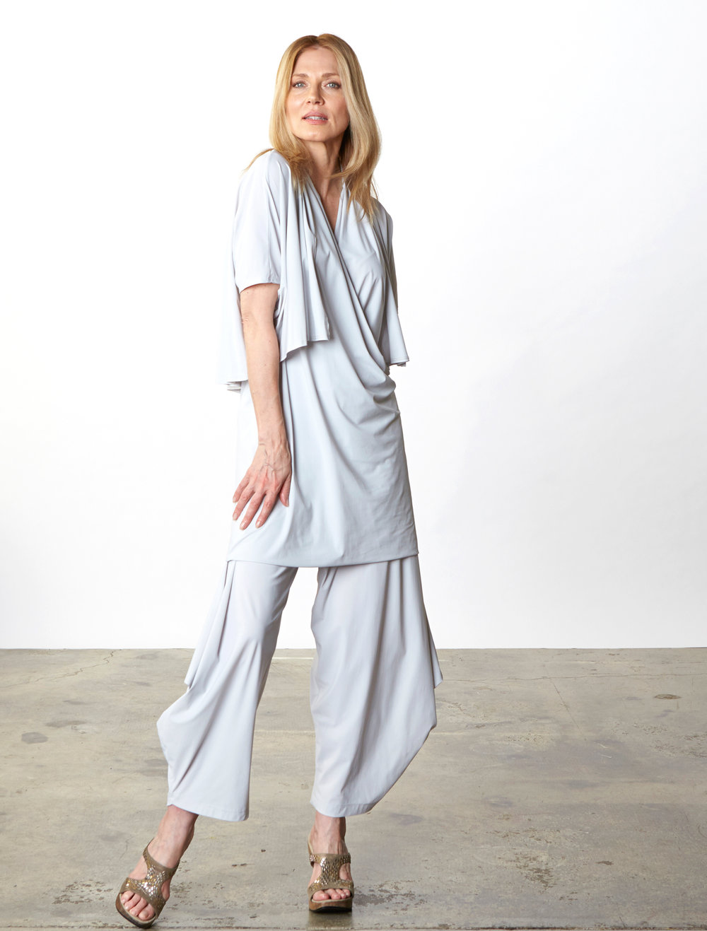 Crop Cardigan, Twist Dress, Hamish Pant in Silver Italian Microfiber Jersey