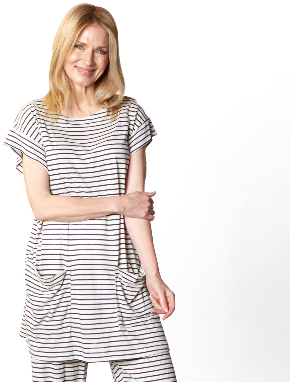 Clyde Tunic, Oscar Pant in Cream/Blue Italian Striped Jersey