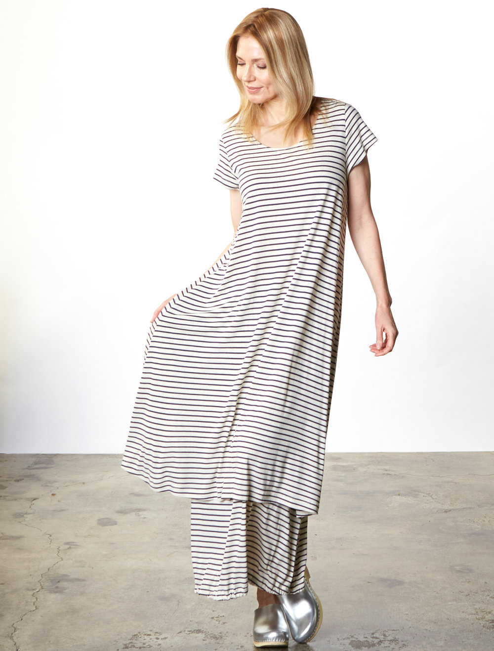 Winslow Dress, Bell Skirt in Cream/Blue Italian Striped Jersey