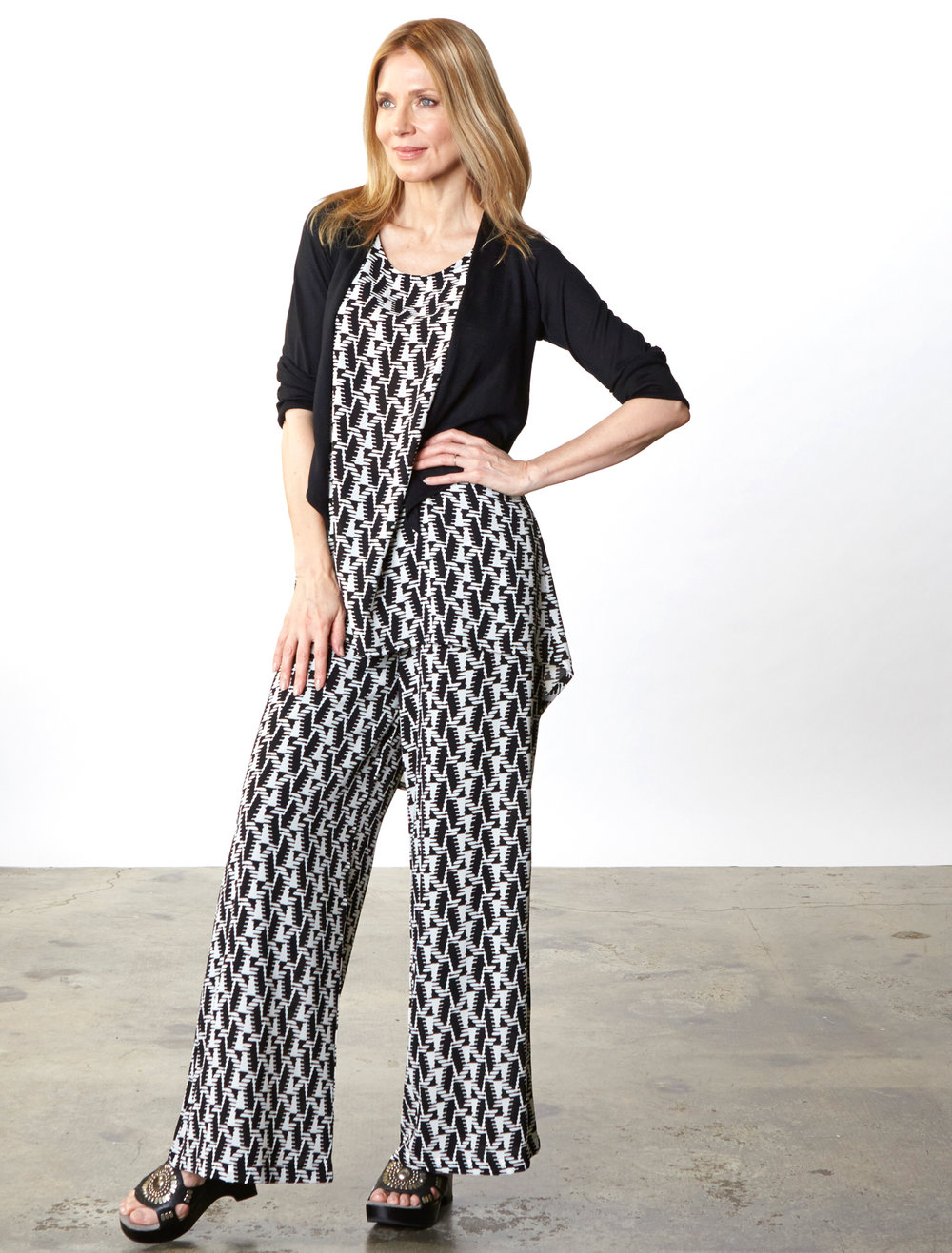 Tre Cardigan in Black Italian Cotton/Cashmere , Luis Tunic, Long Full Pant in Black/Cream Italian Polyester