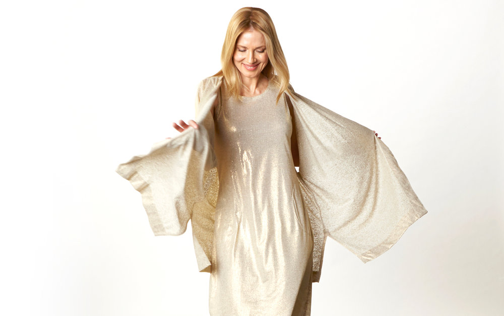 Esme Cardigan, Pippa Dress in Gold Italian Sparkle Jersey