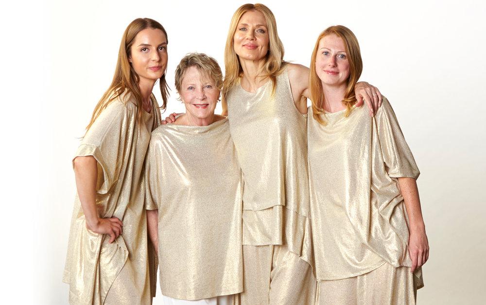 Esme Cardigan,  Pippa Dress, Debo Tunic, Renee Tank,  Luis Tunic, Hamish Pant in Gold Italian Sparkle Jersey