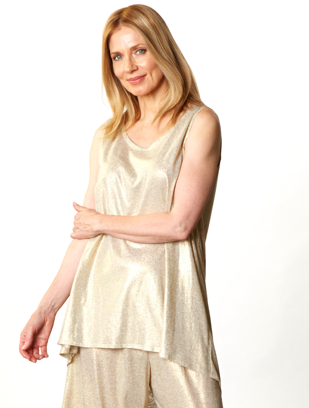 Luis Tunic, Hamish Pant in Gold Italian Sparkle Jersey