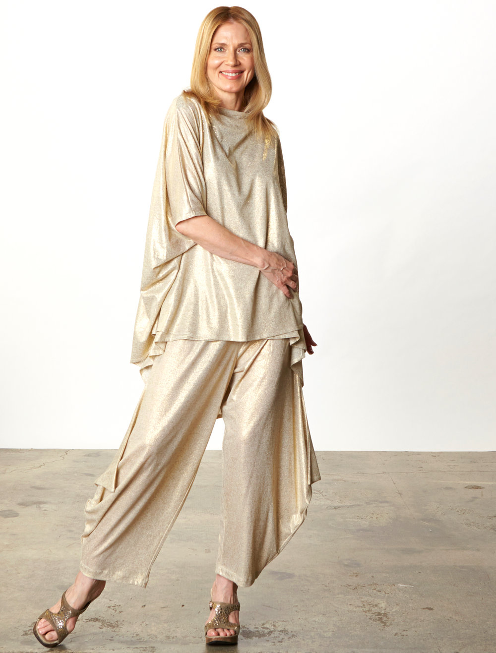 Debo Tunic, Hamish Pant in Gold Italian Sparkle Jersey