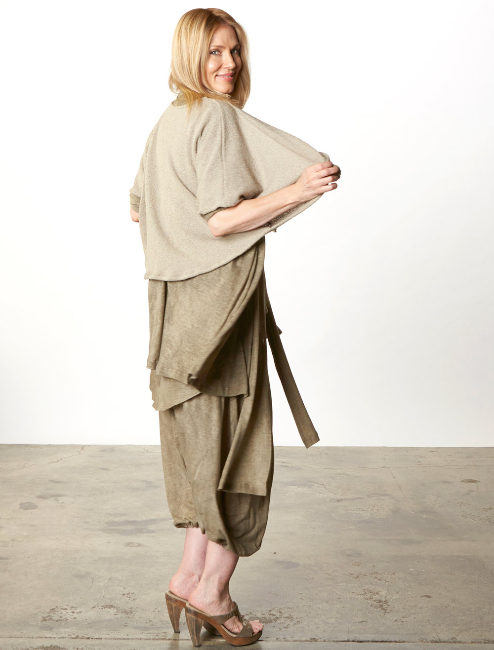 Cavendish Cardigan, Luis Tunic, Gaucho Pant in Taupe Italian Delave Cotton, Vlad Sweater in Taupe Italian Cotton/Nylon