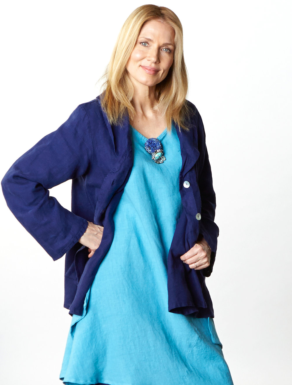 Barnaby Jacket in Starling, Naida Tunic in Umbrella Light Linen