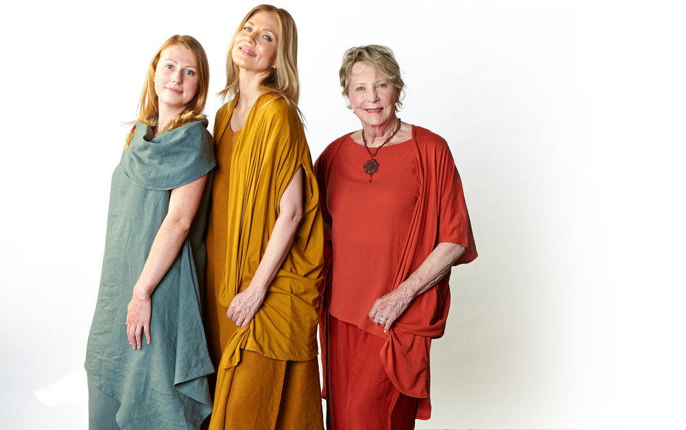 Noa Tunic, Casbah Pant in Oak, Winslow Dress, Long Full Pant in Honey, Ruched Pant in Vermouth Light Linen, Ivy Shirt in Vermouth Cotton Gauze, Swinbrook Vest in Honey, Annette Cardigan in Vermouth Pima Cotton