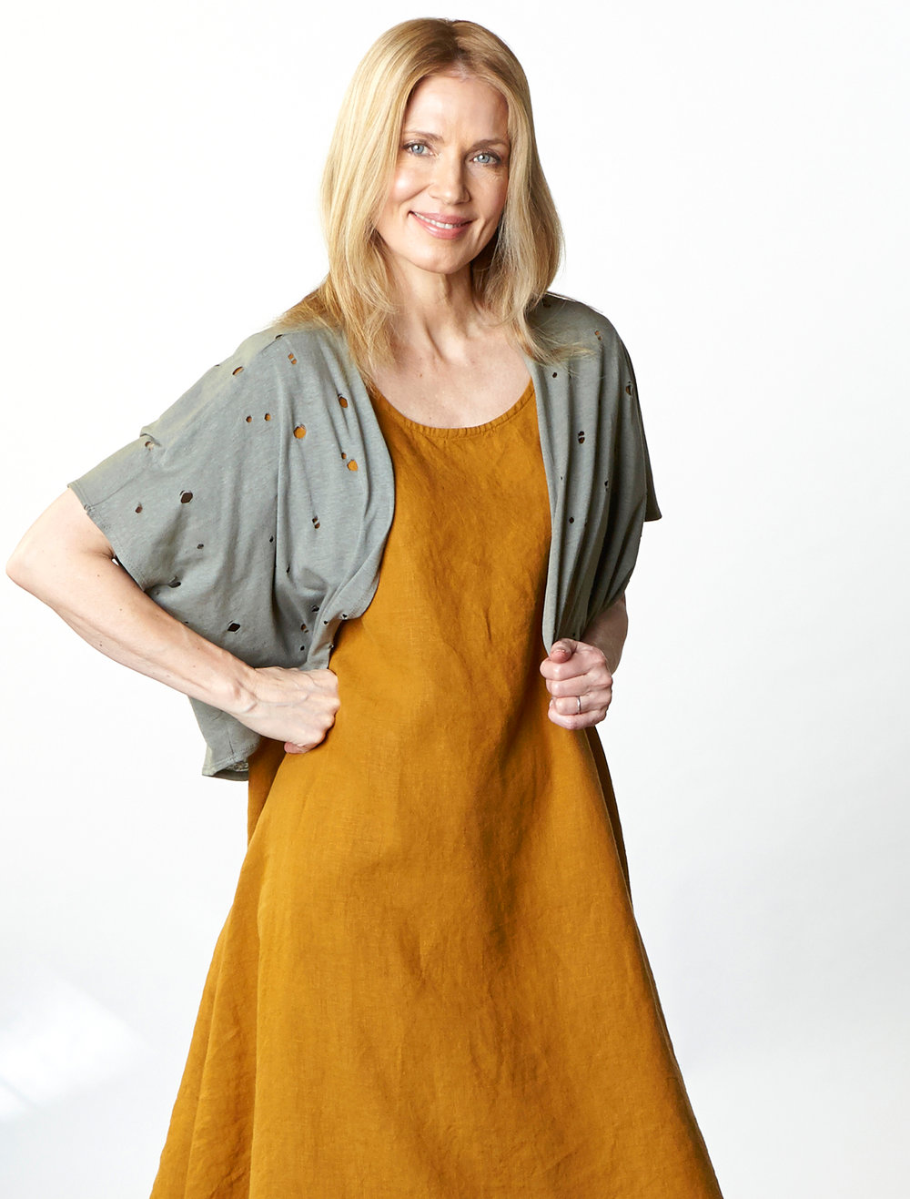 Crop Cardigan in Olive Fori Jersey, Winslow Dress in Honey Light Linen