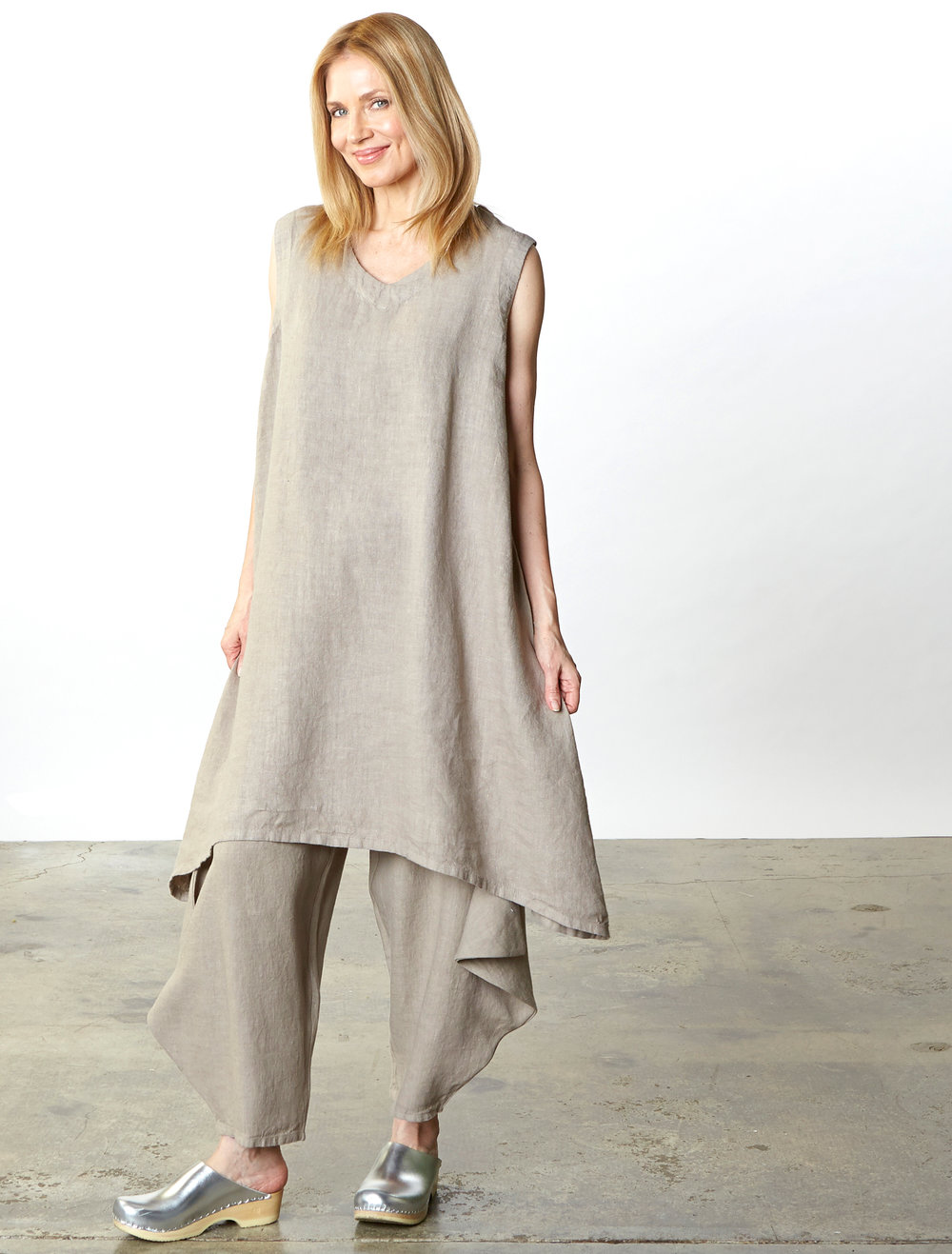 Sena Dress, Hamish Pant in Affogato Heavy Linen
