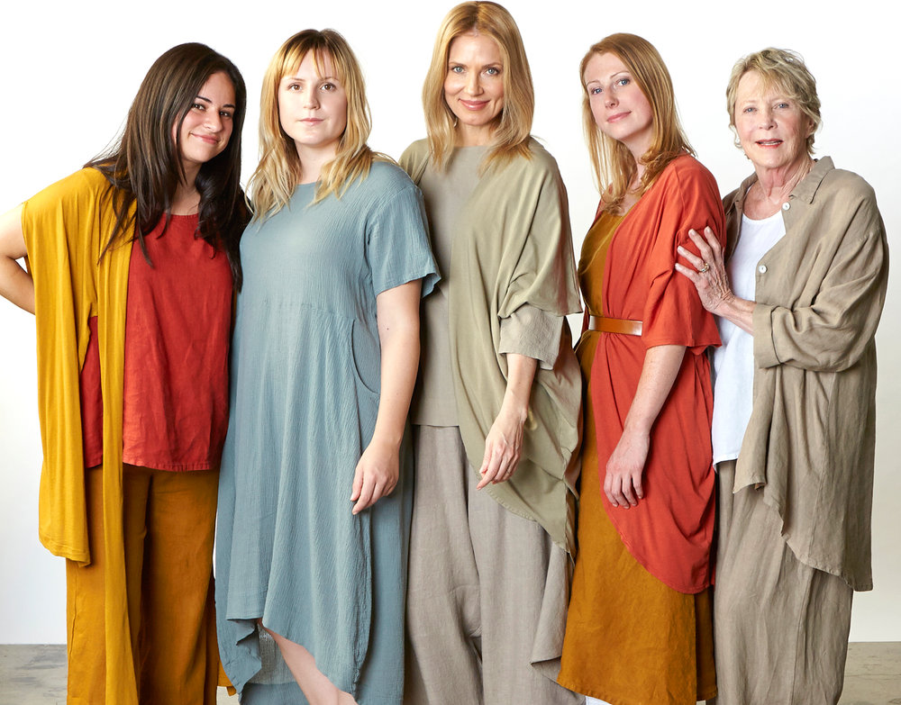 Swinbrook Vest in Honey Pima Cotton, Huxley Tank in Vermouth, Long Full Pant in Honey Light Linen, Marina Dress in Oak, Resort Shirt in Affogato Cotton Gauze, Annette Cardigan in Affogato, Vermouth Organic Bamboo Cotton, Winslow Dress in Honey Light Linen, Mirren Shirt, Flood Pant in Affogato Light Linen