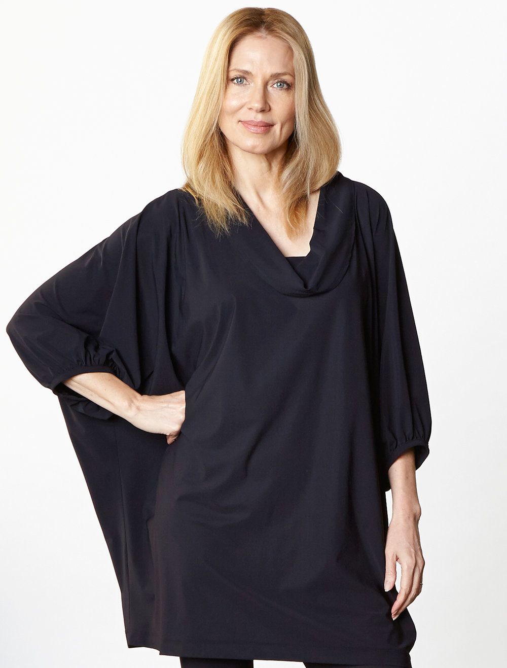 Wilde Tunic,  Legging in Black Italian Microfiber Jersey