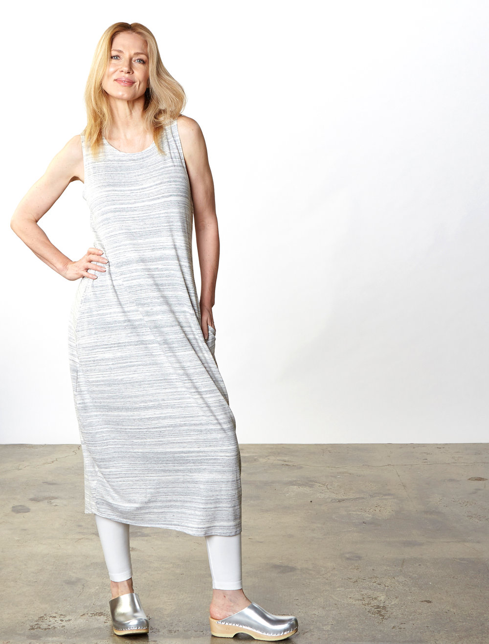 Pippa Dress in Cream Striped French Terry, Legging in Cream Organic Bamboo Cotton