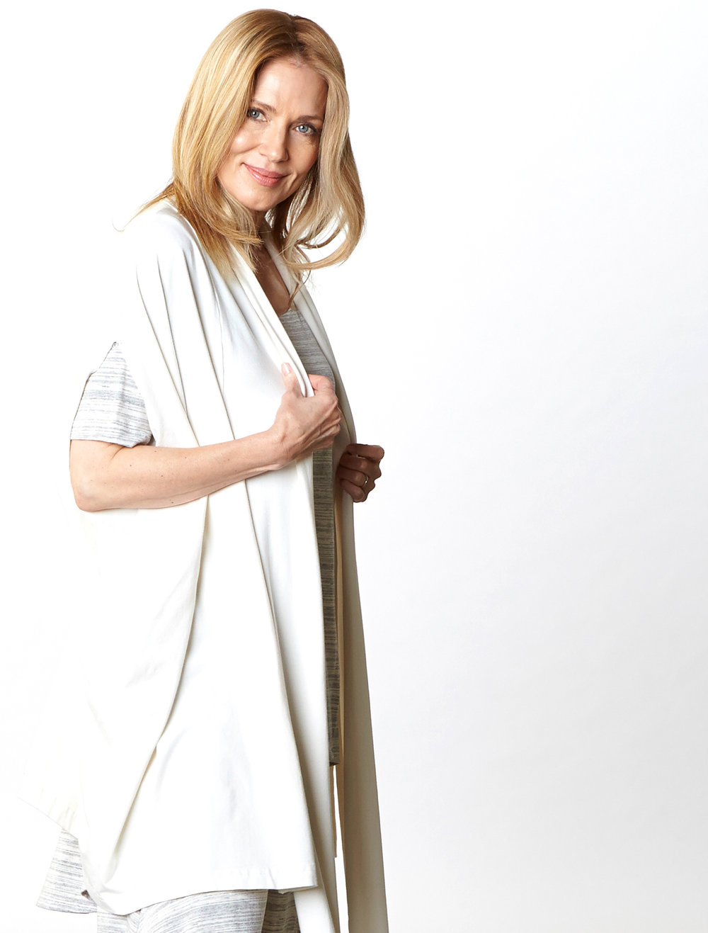 Swinbrook Vest in Cream Organic Bamboo Cotton,  Lilo Tunic in Cream Striped French Terry
