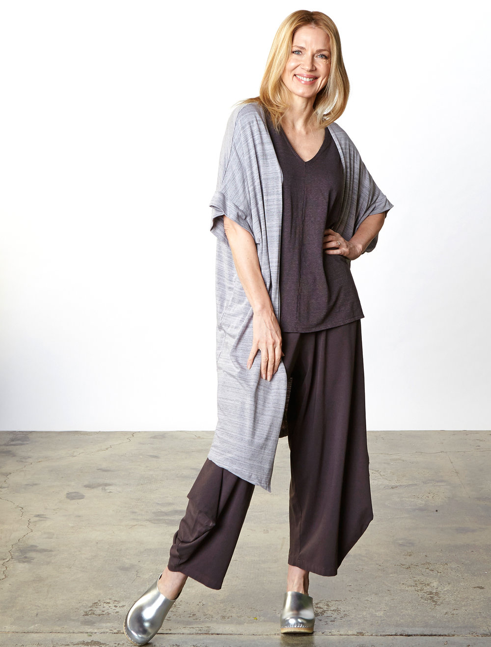 Ezra Cardigan in Taro, Justin Tunic in Earl Striped French Terry, Hamish Pant in Earl Bamboo Cotton