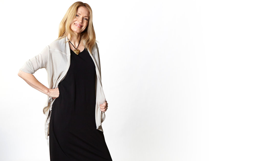Eva Cardigan in Stone Italian Cotton Cashmere, Pippa Dress in Black Organic Bamboo Cotton