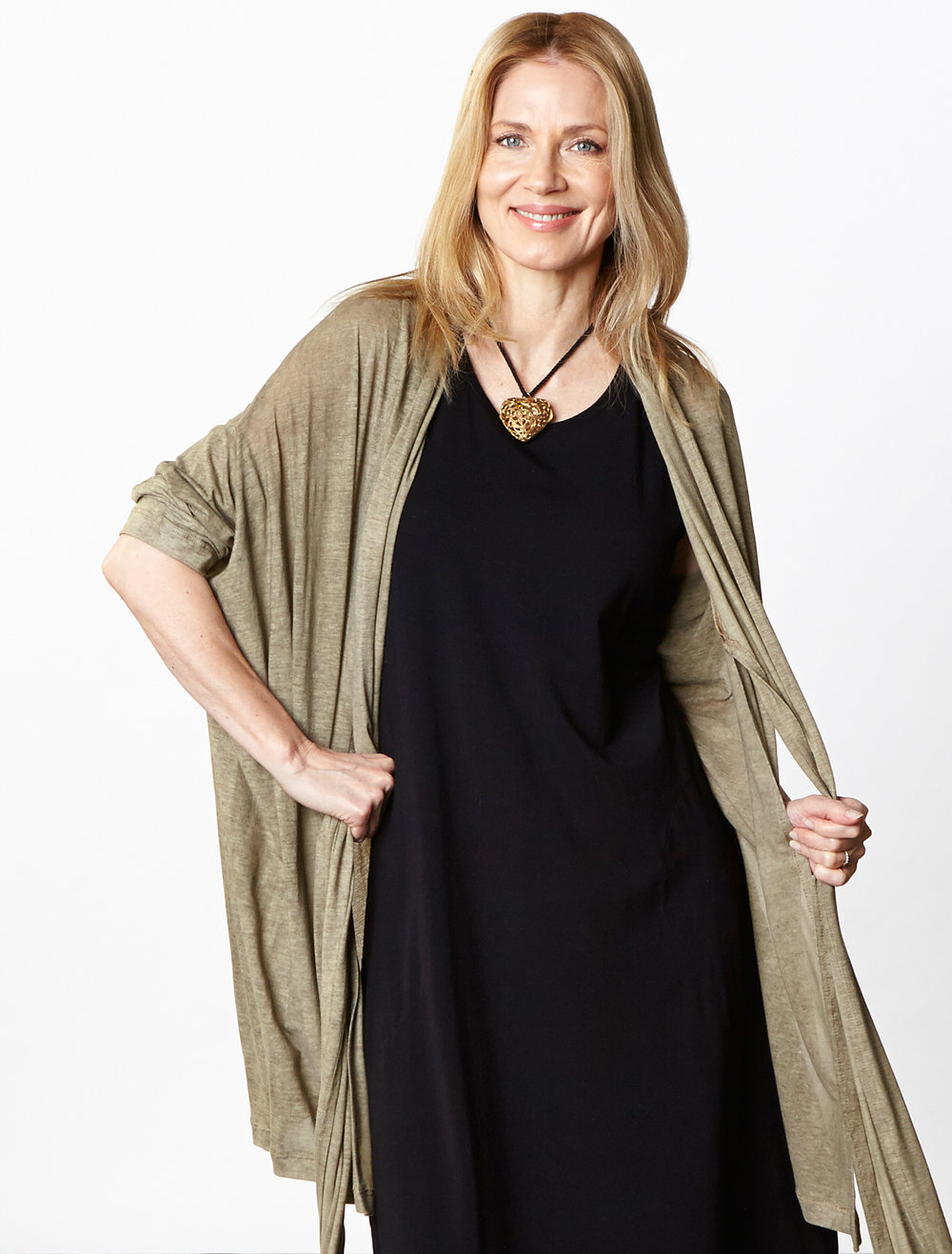 Cavendish Cardigan in Taupe Italian Delave Cotton,  Pippa Dress in Black Organic Bamboo Cotton