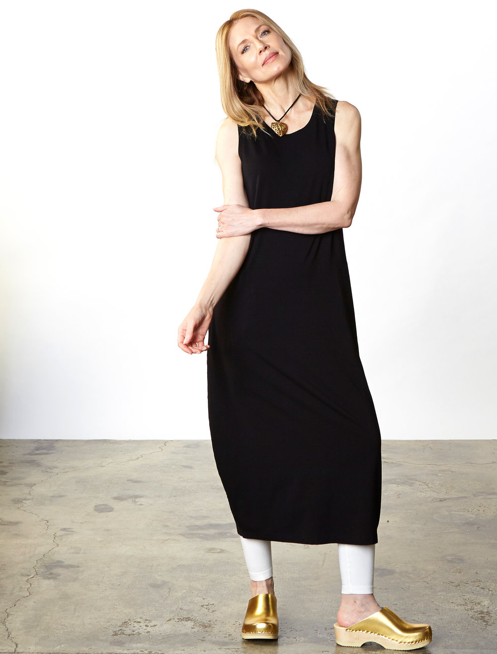 Pippa Dress in Black Organic Bamboo Cotton, Legging in Cream Organic Bamboo Cotton