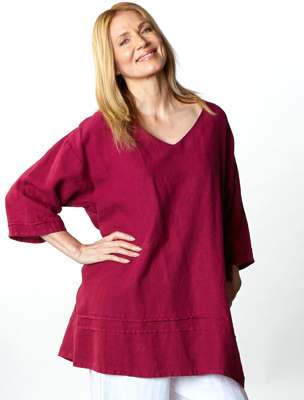 Jude Tunic in Raspberry, Oliver Pant in White Light Linen