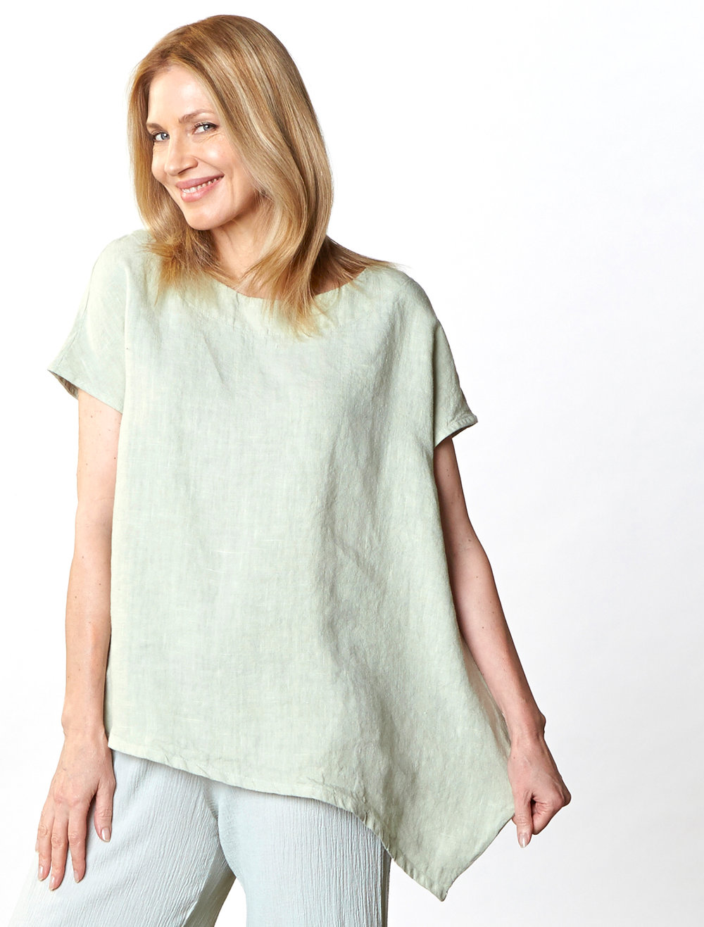 Ivy Shirt in Pistachio Heavy Linen, Oscar Pant in Pistachio Cotton Gauze