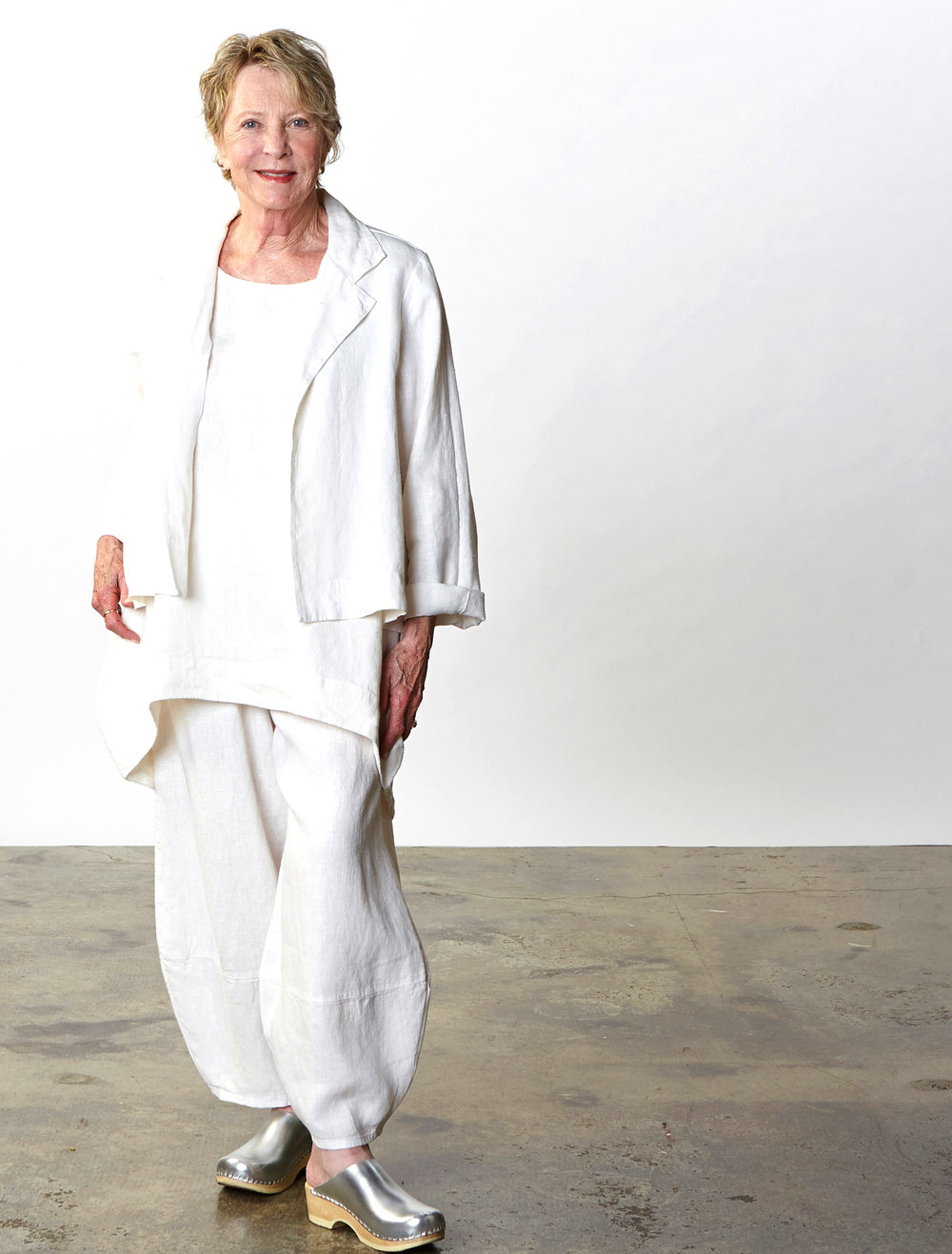 Lewis Jacket, Amy Tunic, Oliver Pant in Cream Heavy Linen