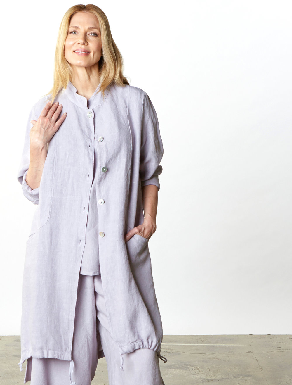 Emerson Jacket in Taro Heavy Linen, Long Trapeze Tank, Hamish Pant in Taro Light Linen