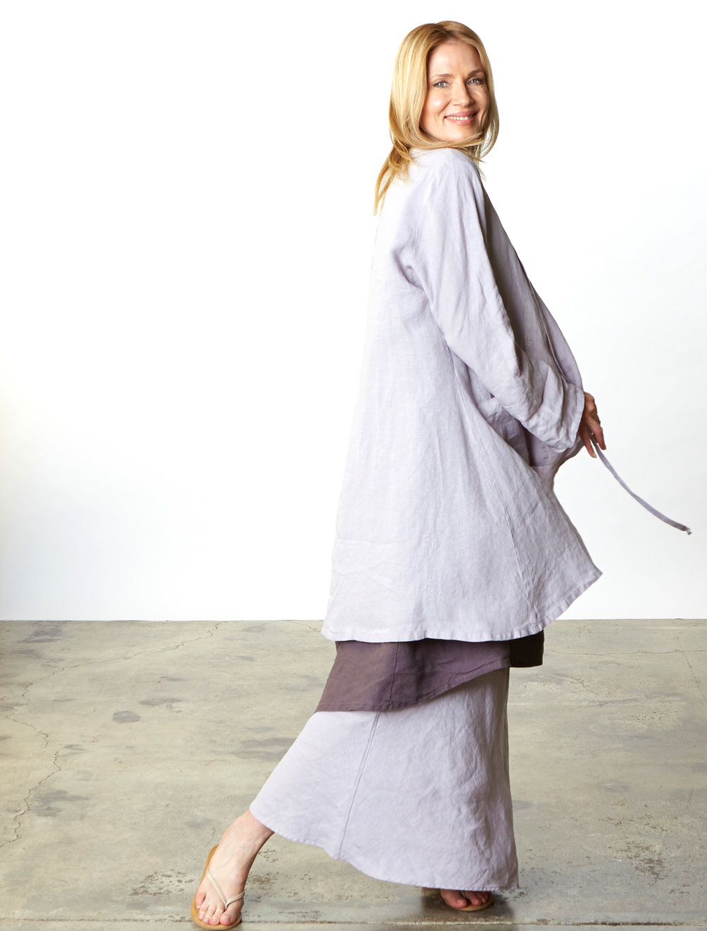 Andrea Jacket, Long Bias Skirt in Taro, Louie Dress in Earl Light Linen