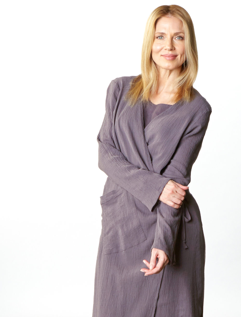 Bronte Wrap Dress in Earl Cotton Gauze,  Louie Dress in Earl   Light Linen