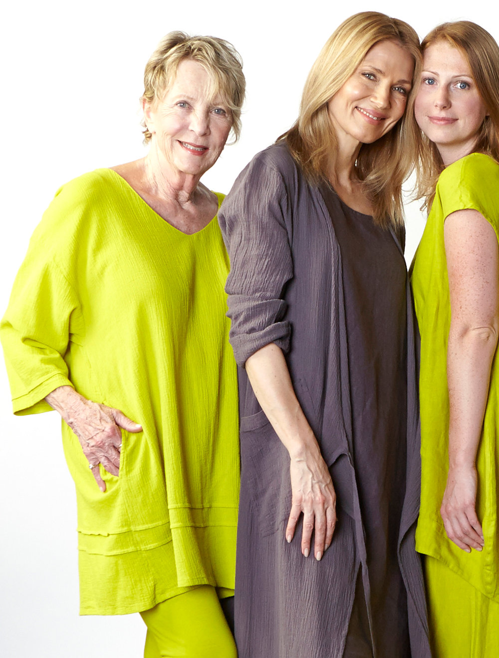 Jude Tunic in Limoncello, Bronte Wrap Dress in Earl   Cotton Gauze,  Louie Dress in Earl Light Linen, Amy Tunic, Oliver Pant in Limoncello Light Linen