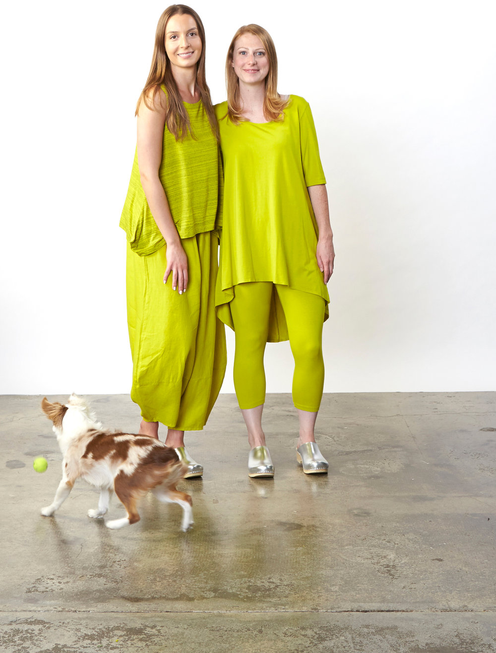 Renee Tank in Limoncello Striped French Terry, Oliver Pant in Limoncello Light Linen, Lilo Tunic, Capri Legging in Limoncello Organic Bamboo Cotton