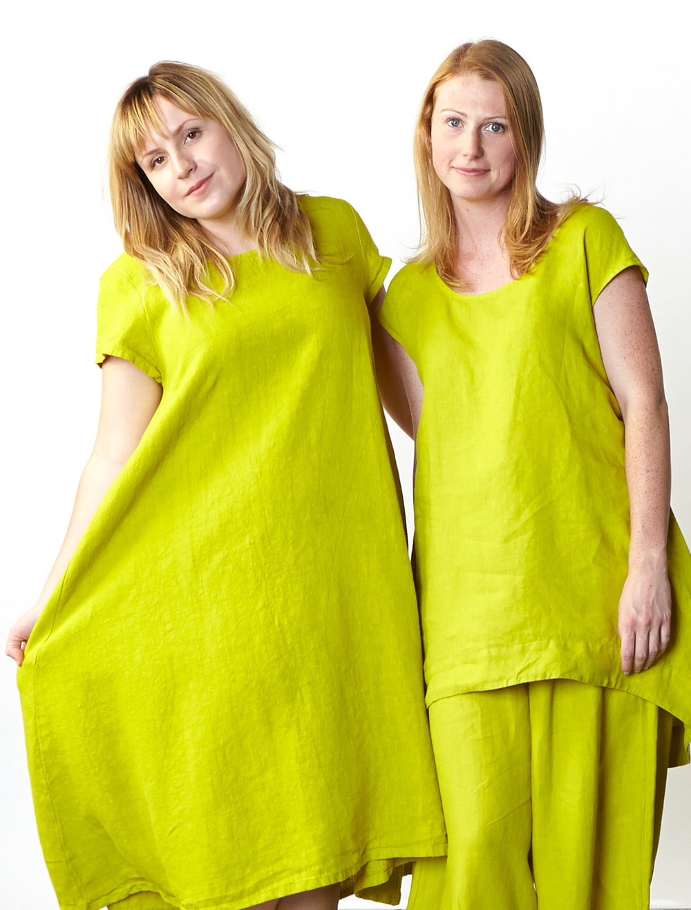 Winslow Dress in Limoncello Heavy Linen, Amy Tunic, Oliver Pant in Limoncello Light Linen