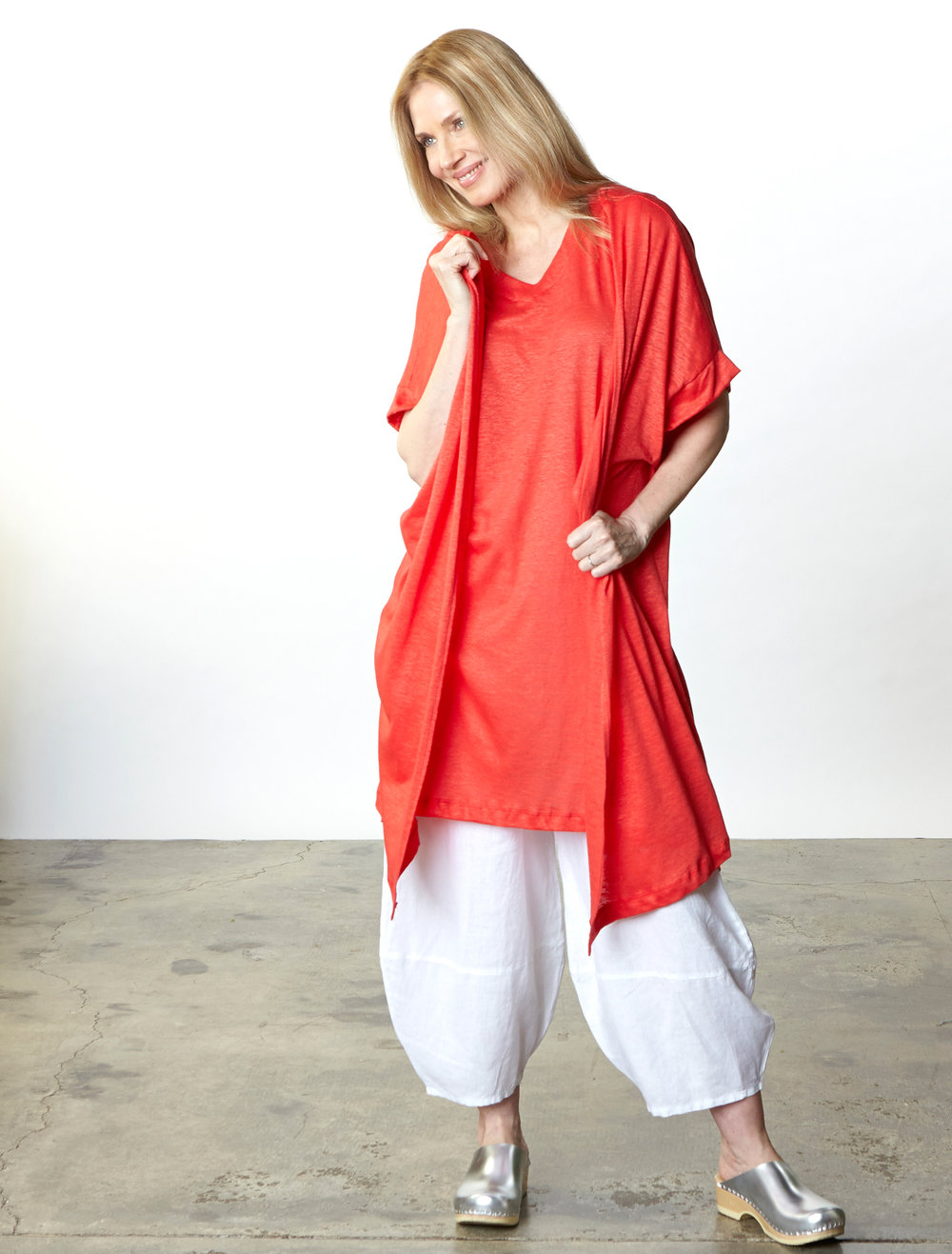 Ezra Cardigan, Sena Tunic in Red Italian Linen Knit, Oliver Pant in White Light Linen