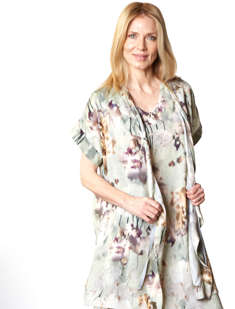 Freja Cardigan, Sena Dress in Fiesole Italian Polyester