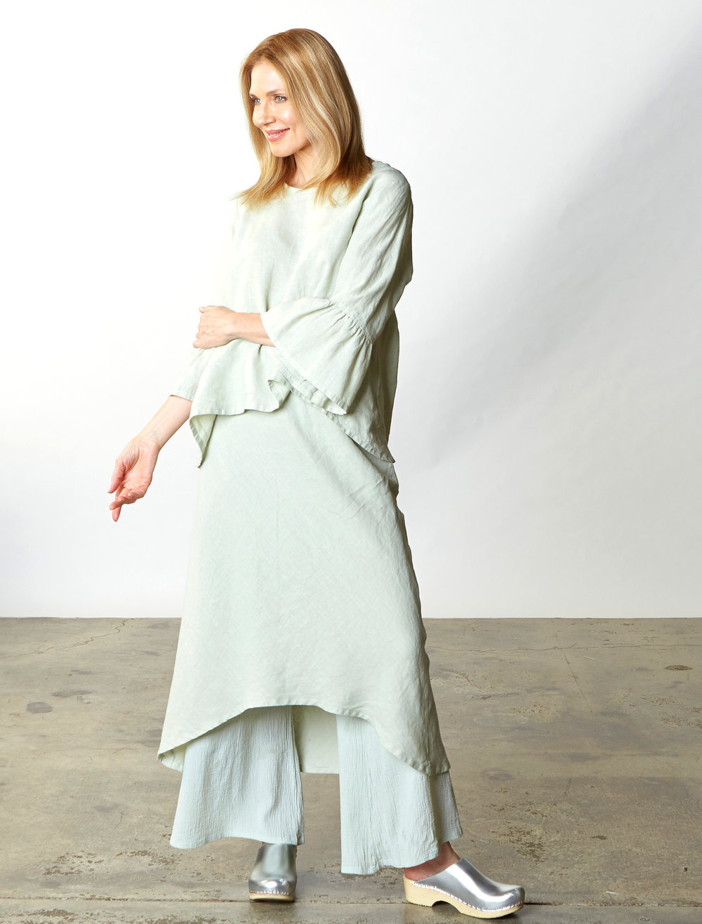 Fran Shirt, Bias Skirt in Pistachio Light Linen, Oscar Pant in Pistachio Cotton Gauze