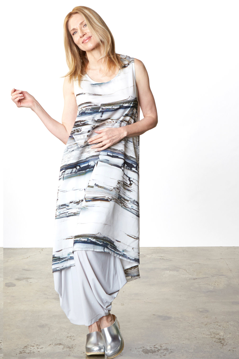 Louie Dress in Silver Matrice Italian Polyester, Hamish Pant in Silver Italian Microfiber Jersey