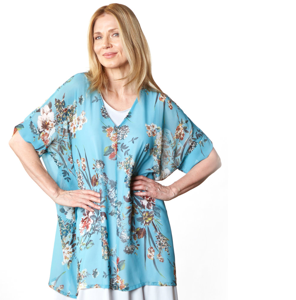 Paola Tunic in Lago Italian Sheer Polyester, Louie Dress in Silver Italian Microfiber Jersey