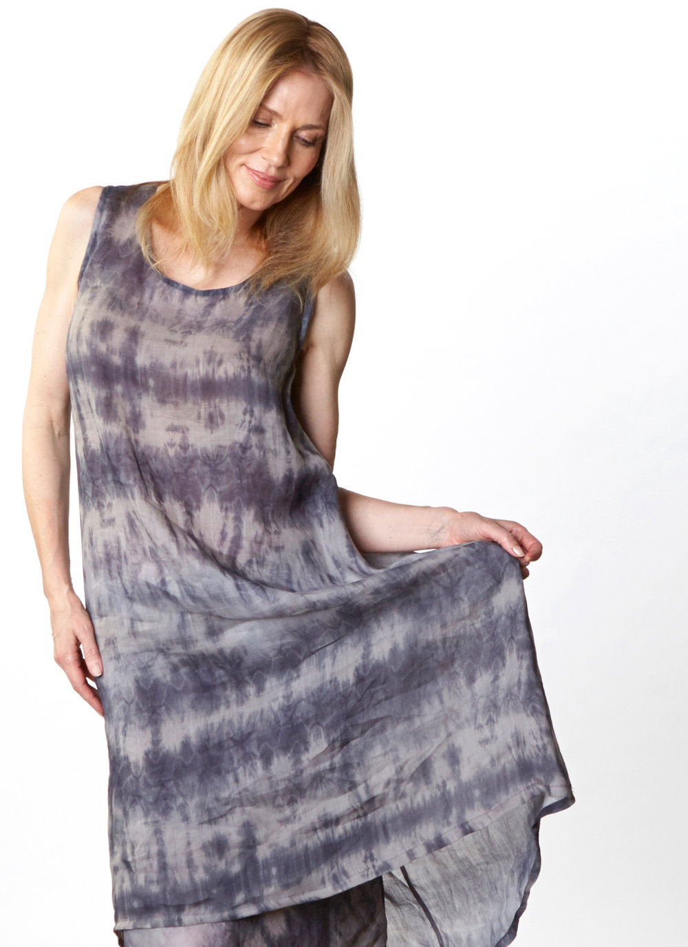 Louie Dress, Long Bias Skirt in Grey/Blue Italian Ramie