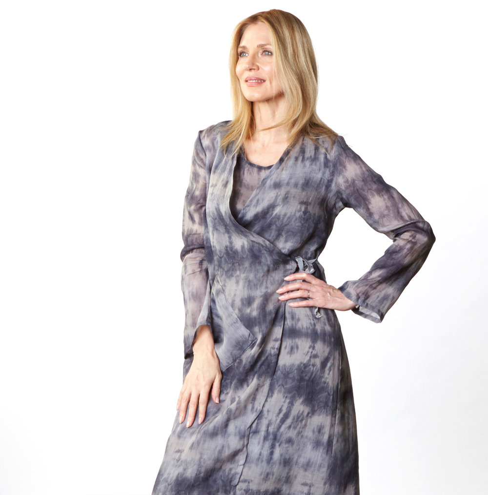 Bronte Wrap Dress, Louie Dress, Long Bias Skirt in Grey/Blue Italian Ramie