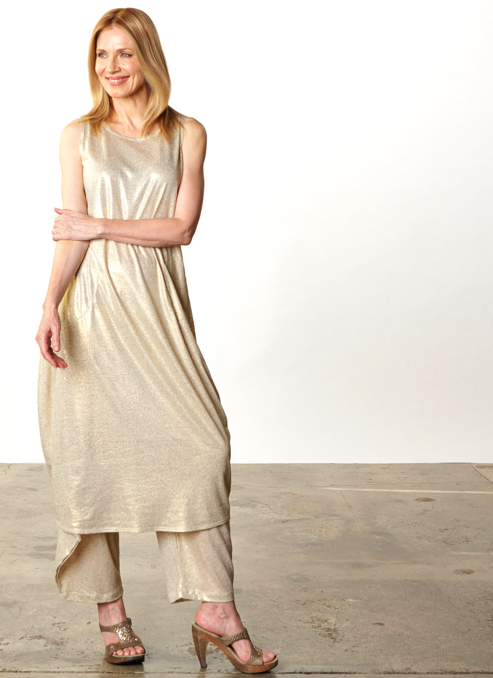 Pippa Dress, Hamish Pant in Gold Italian Sparkle Jersey