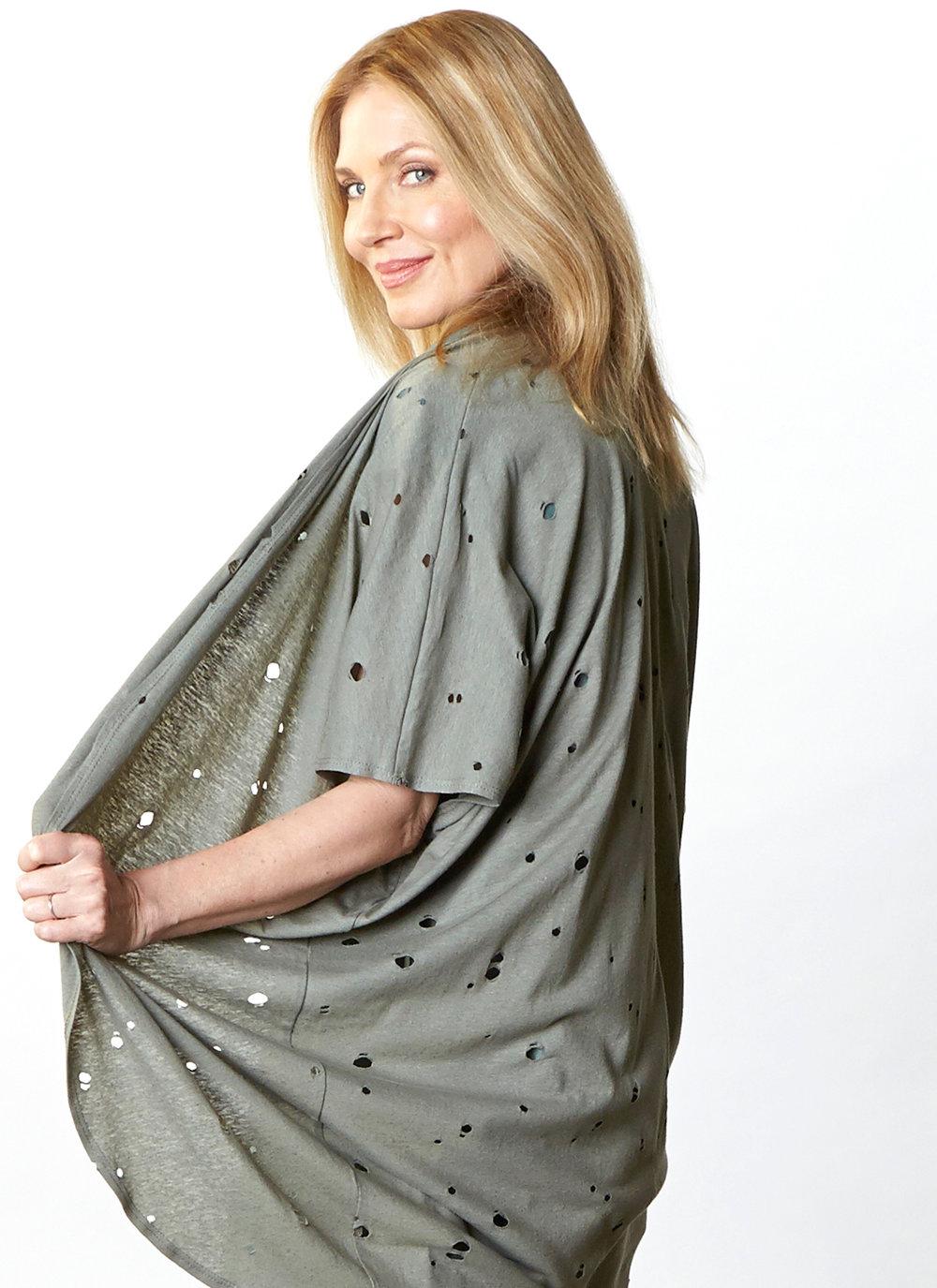 Annette Cardigan in Olive Italian Fori Jersey