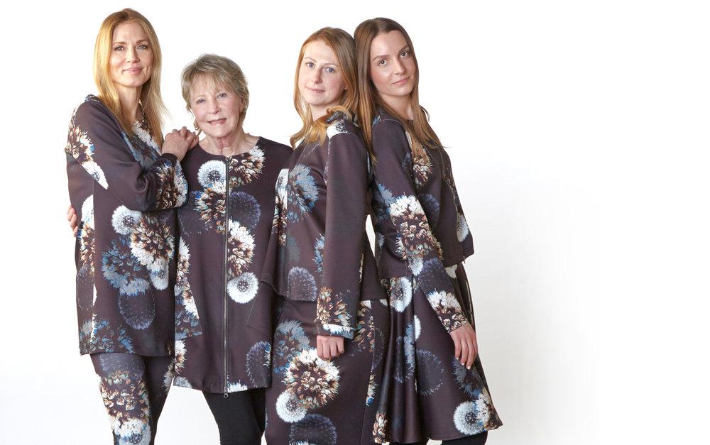 Yasmin Dress, Legging, Jupiter Jacket, Doris Shirt, Slim Skirt,Betz Jacket, Dansa Skirt in Dandelion Italian Print Scuba