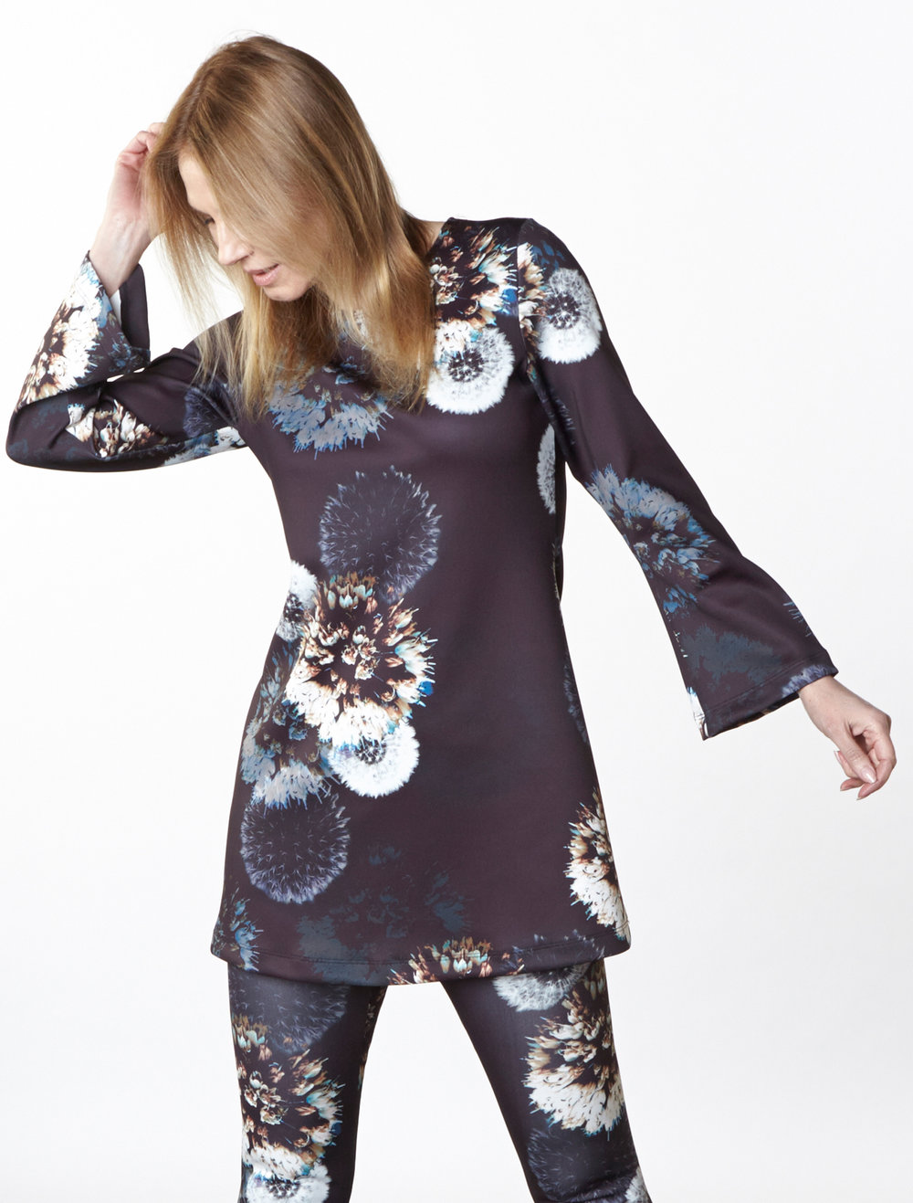 Yasmin Dress, Legging in Dandelion Italian Print Scuba