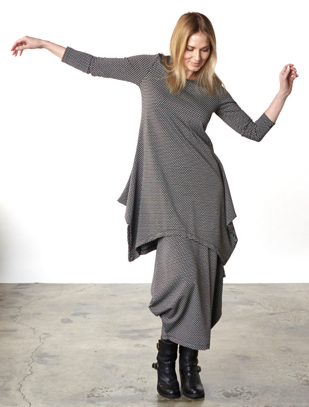 Chase Tunic, Hamish Skirt in Black/Cream Ready for Carnaby Street