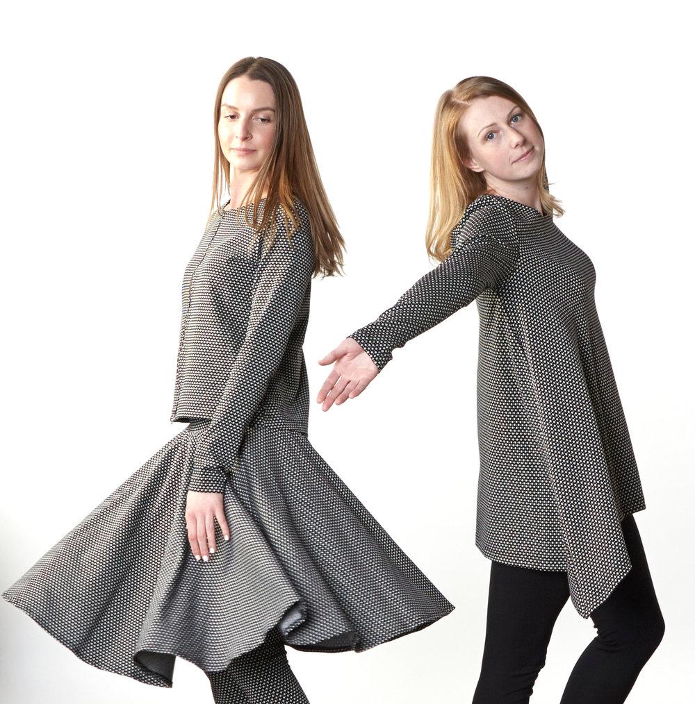 Betz Jacket, Dansa Skirt, Charles Shirt in Black/Cream Ready for Carnaby Street, Legging in Black Modal Ponti
