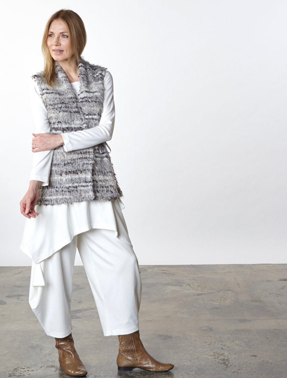 Eddie Vest in Grey Italian Boucle, Chase Tunic, Hamish Pant in Cream Modal Ponti