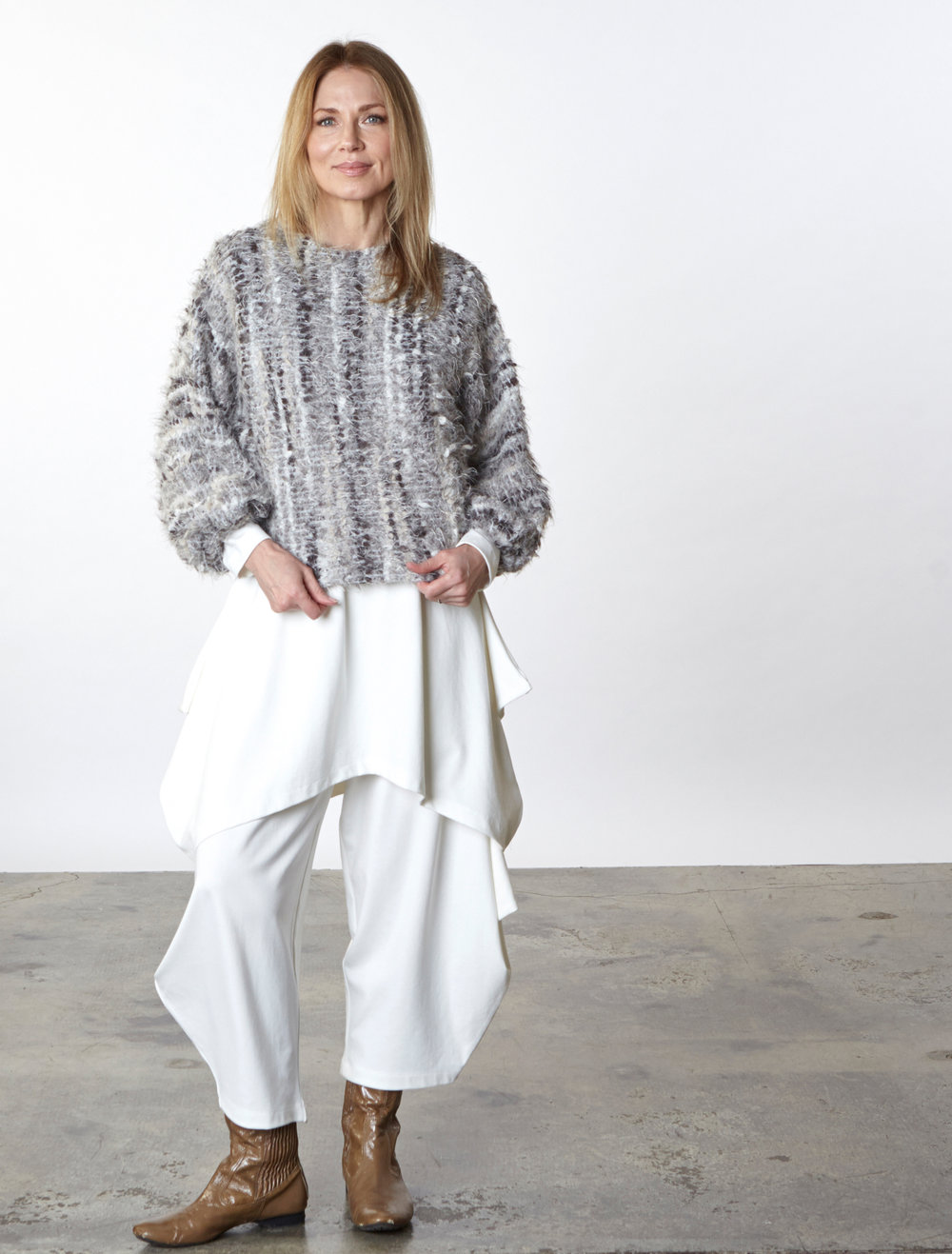 Anna Shirt in Grey Italian Boucle, Chase Tunic, Hamish Pant in Cream Modal Ponti