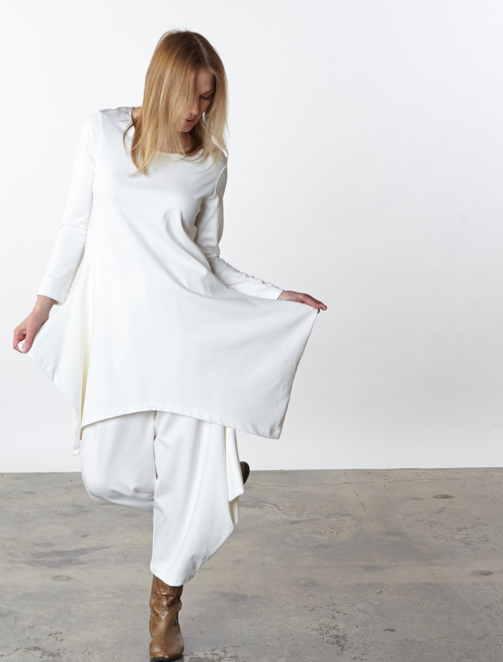Chase Tunic, Hamish Pant in Cream Modal Ponti